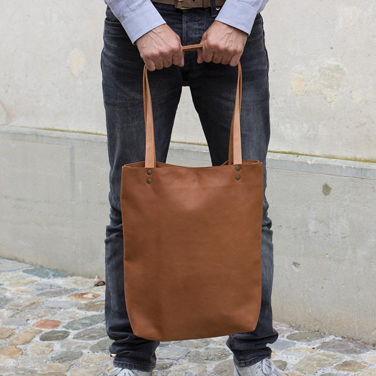 Leder Shopper Bag Cognac