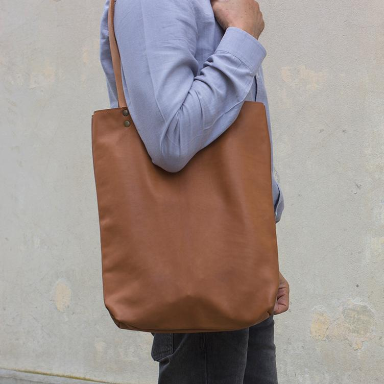 Leder Shopper Bag Cognac - 0