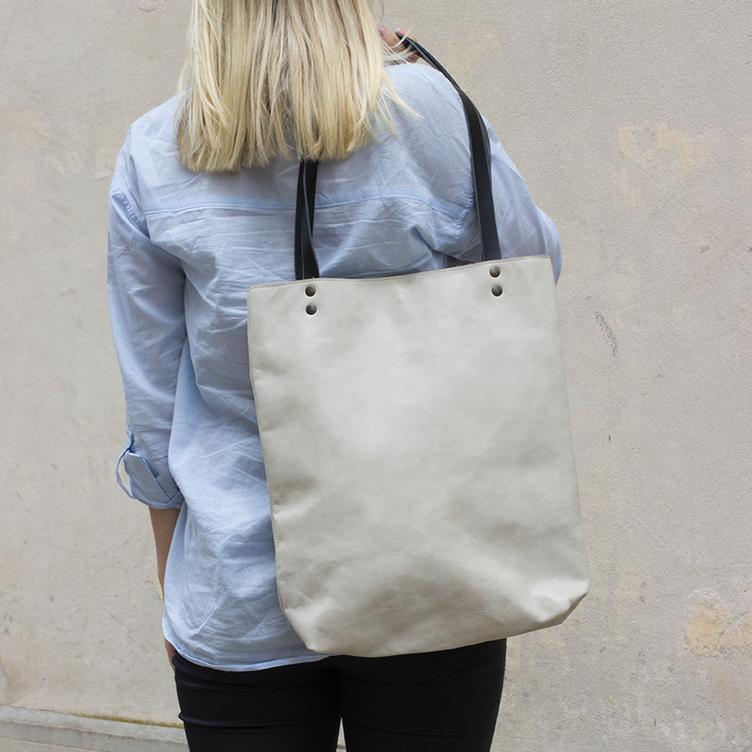 Leder Shopper Bag Offwhite - 0