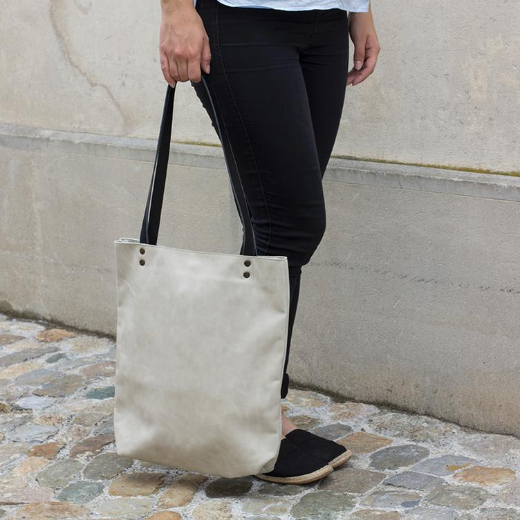 Leder Shopper Bag Offwhite - 1