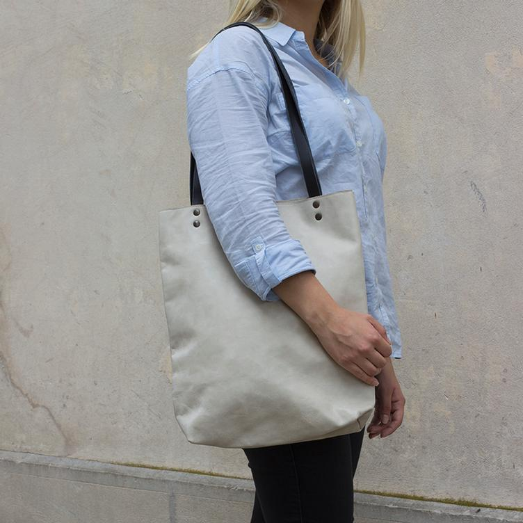 Leder Shopper Bag Offwhite