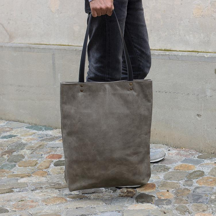 Leder Shopper Bag Olive - 0