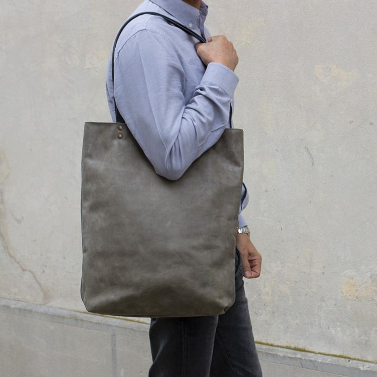 Leder Shopper Bag Olive