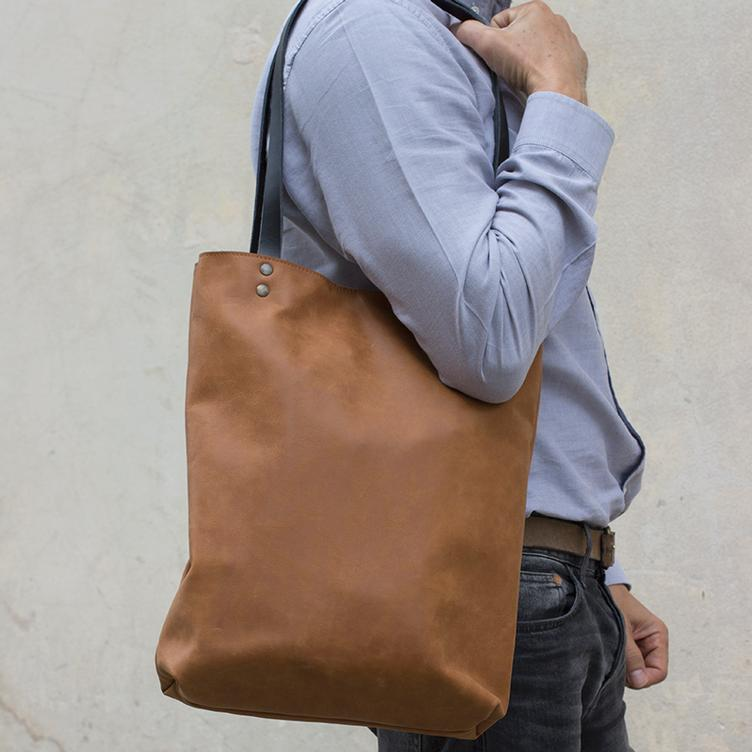 Leder Shopper Bag Tabak